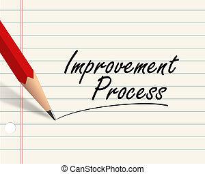 lápis, papel, -, melhoria, processo