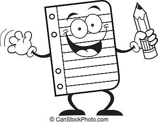 lápis, papel, segurando, caderno