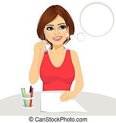 lápis, pensamento mulher, conceito, atraente, segurando