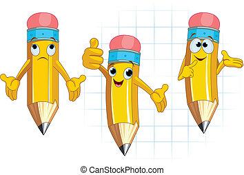 lápis, personagem, expressão, facial