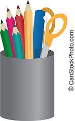 lápis, recipiente