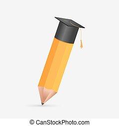 lápis, símbolo, boné, graduação, vetorial, educação