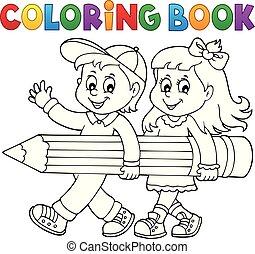lápis, segurando, coloração, crianças, livro