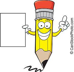 lápis, segurando, sinal