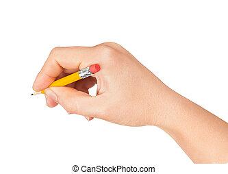 lápis, shortinho, mão, mulher, fundo, branca
