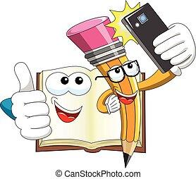 lápis, smartphone, levando, isolado, livro, selfie, mascote