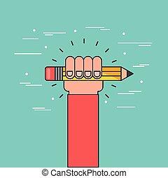 lápis, ter, mão, apartamento