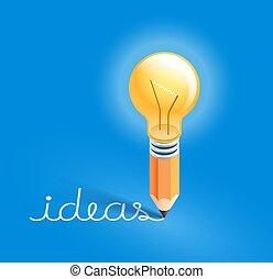 lápis, text., bulbo, escrita, vetorial, illustrations., idéias, luz