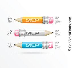 lápis, texto, caixas, infographics, vetorial, ícone