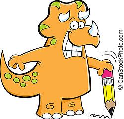 lápis, triceratops, segurando
