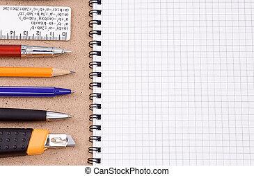 lápis, verificado, papel agenda, caneta, faca