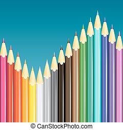 lápis, vetorial, illustration., coloridos, experiência.
