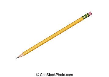 lápiz, aislado, amarillo