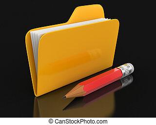 lápiz, archivos, carpeta