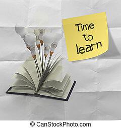lápiz, arrugado, stucky, palabra, luz, aprender, idea, nota, concepto, papel, plano de fondo, tiempo, bombilla