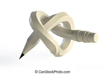 lápiz, blanco, aislado, nudo