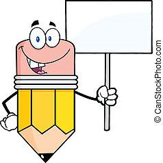 lápiz, blanco, tenencia, señal