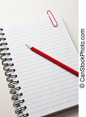lápiz, bloc, rojo