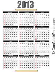 lápiz, calendario, image., 2013, v