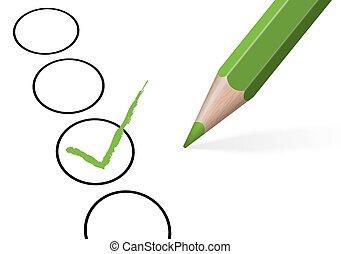 lápiz, coloreado, cruz, /, elección, cheque