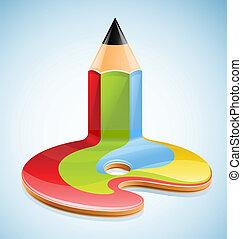 lápiz, como, símbolo, de, visual, arte