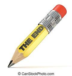 lápiz, concept., fin, amarillo, 3d