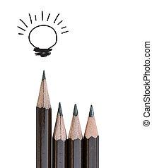 lápiz, concepto, luz,  idea, liderazgo, blanco, bombilla