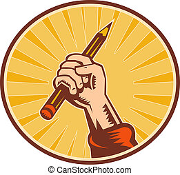 lápiz, conjunto, dentro, tenencia de la mano, oval, sunburst