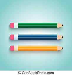 lápiz, conjunto, plano, diseño
