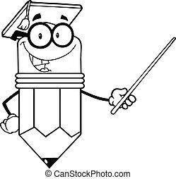 lápiz, contorneado, profesor