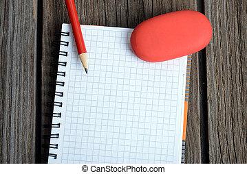 lápiz, cuaderno, borrador