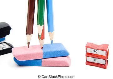 lápiz de color, con, borrador