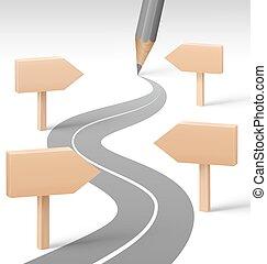 lápiz de madera, grayscale, camino, postes indicadores