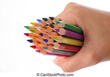 lápiz del color, mano