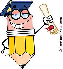 lápiz, diploma, tenencia, graduado