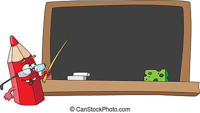 lápiz, escuela, pizarra