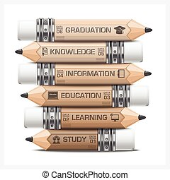 lápiz, etiqueta, diagrama, paso, infographic, aprendizaje,...