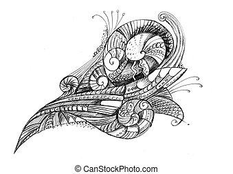 lápiz, excepcional, cáscara, resumen, espiral, dibujo