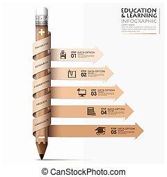 lápiz, flecha, espiral, paso, infographic, aprendizaje,...