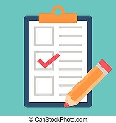 lápiz, garrapata, icono, lista de verificación