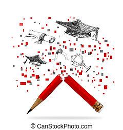 lápiz, graduación, celebración