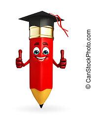 lápiz, graduado, carácter, sombrero