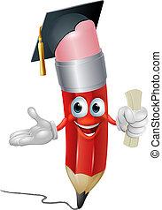 lápiz, graduado, educación, concepto