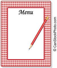 lápiz, guinga, cheque, menú, marco