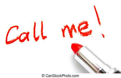 """lápiz labial, y, inscripción, """"call, me""""., en, un, blanco,..."""