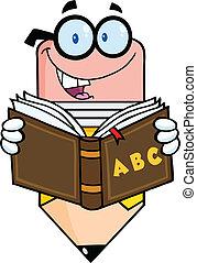 lápiz, lectura, un, libro de la escuela