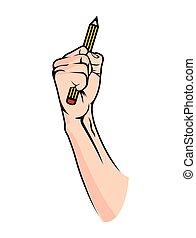 lápiz mano, -, pelea, para, educación
