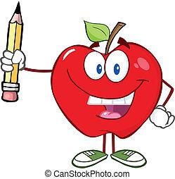 lápiz, manzana roja, teniendo arriba