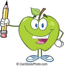 lápiz, manzana verde, teniendo arriba