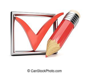 lápiz, marca de verificación